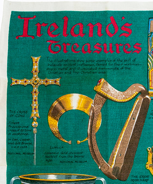 Ireland's Treasures Souvenir Tea Towel Vintage Irish Linen Fingal Made in Ireland Unused Framable Wall Hanging St. Patrick's Day Shamrock