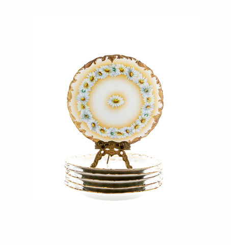 Tressemann and Vogt Limoges Plates Daisy Chain Plates Set of 5 Gold Encrusted Porcelain - PlumsandHoneyVintage