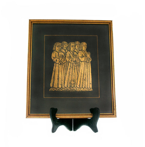 Brass Rubbing Wall Hanging Vintage Ancestry Genealogy Stoke Rochford Linconshire England St. John Boys Black Mat Wood Gilt Frame 1977 - PlumsandHoneyVintage