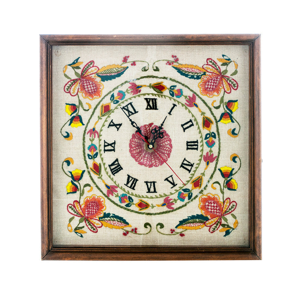 Vintage Embroidered Clock, Folk Art Clock, 1960s Hand Made Clock, Rustic, Farmhouse Decor, Kitsch Clock - PlumsandHoneyVintage