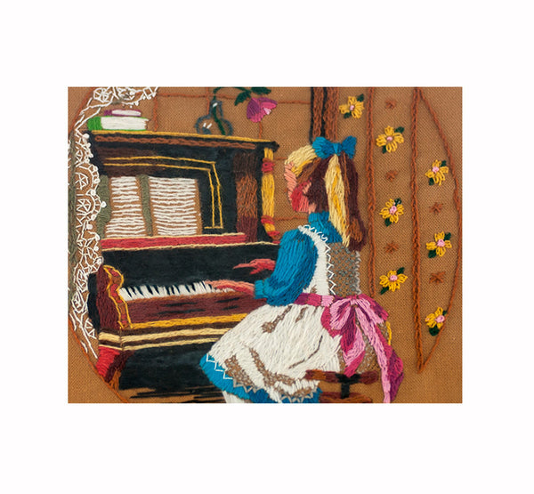 Vintage Embroidered Wall Art, Girl at Piano, Stitched Wall Art, Embroidery Art, Hand Embroidery Design, Framed under Glass, Girl's Room