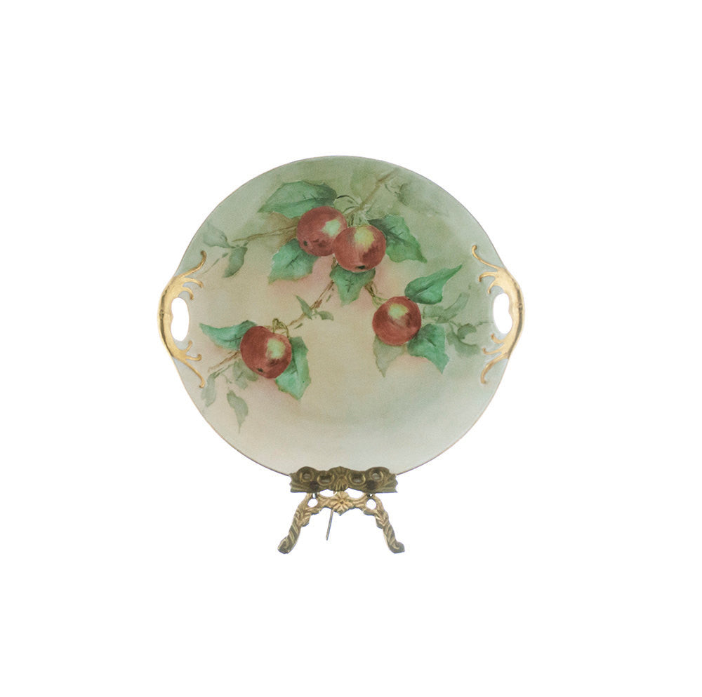Antique German Plate 1800s, Hand Painted with Gold Encrusted Double Handles, Cabinet Plate with Red Apples Green Leaves, Victorian Platter - PlumsandHoneyVintage