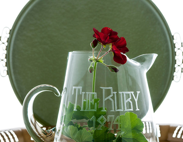 "Hand Blown Glass Pitcher, Etched with ""The Ruby 1974,"" Vintage Bar Decor"