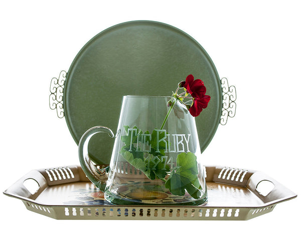 "Hand Blown Glass Pitcher, Etched with ""The Ruby 1974,"" Vintage Bar Decor - PlumsandHoneyVintage"
