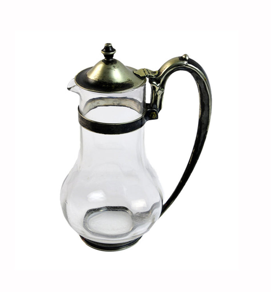 Glass Pitcher with Silverplate / Albert Pick Co. / Art Deco Server