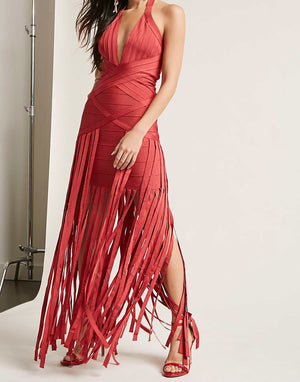 Rust Fringe Bandage Dress