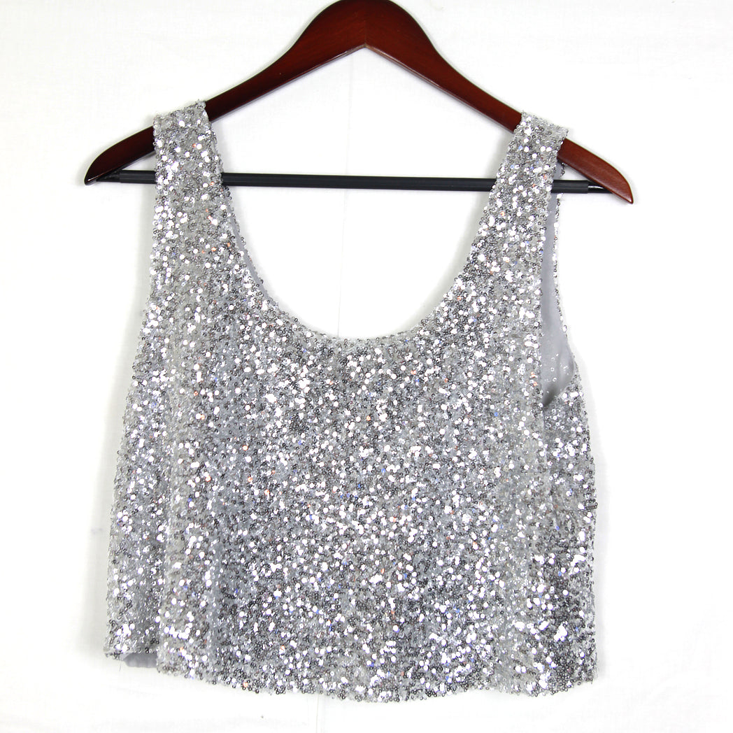 Silver Sequins Cropped Tank