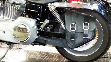 "Bobber Bracket installed on a Super Glide with our DCC ""Bobber Bag"" Softail style solo bag"