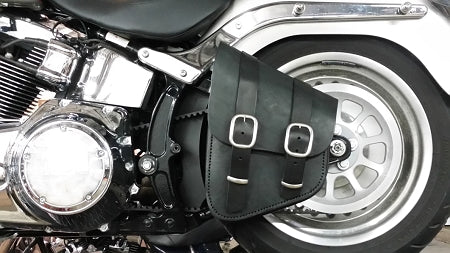 Bobber Bracket shown installed on a Fat Boy with our Dead Creek Cycles Bobber Bag solo bag