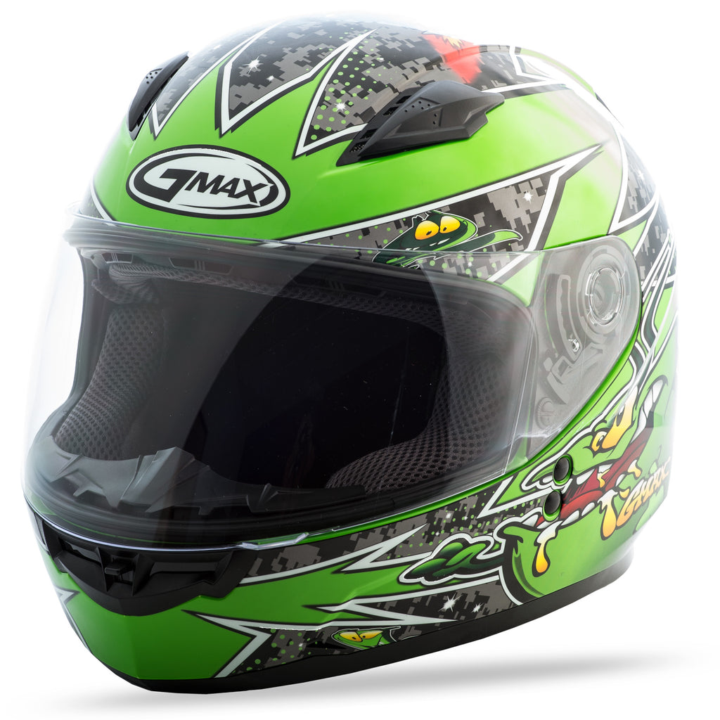 YOUTH GM-49Y FULL-FACE ALIEN HELMET BLACK/GREEN YL
