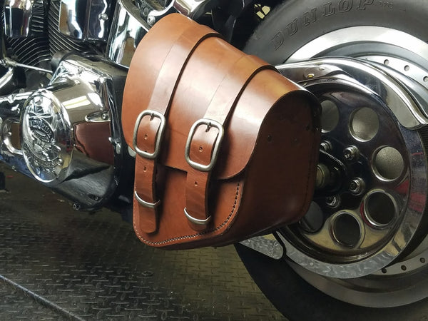 Bobber Bag Leather Solo Swingarm Bag for Harley Softail, Rigids, Bobbers - Brown Leather Bag