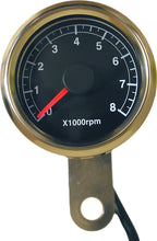 Load image into Gallery viewer, 48MM MINI TACHOMETER 8000 RPM BLACK FACE