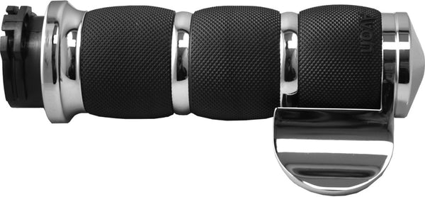 Air Cushioned Grips W/Cable Throttle Boss (Chrome)