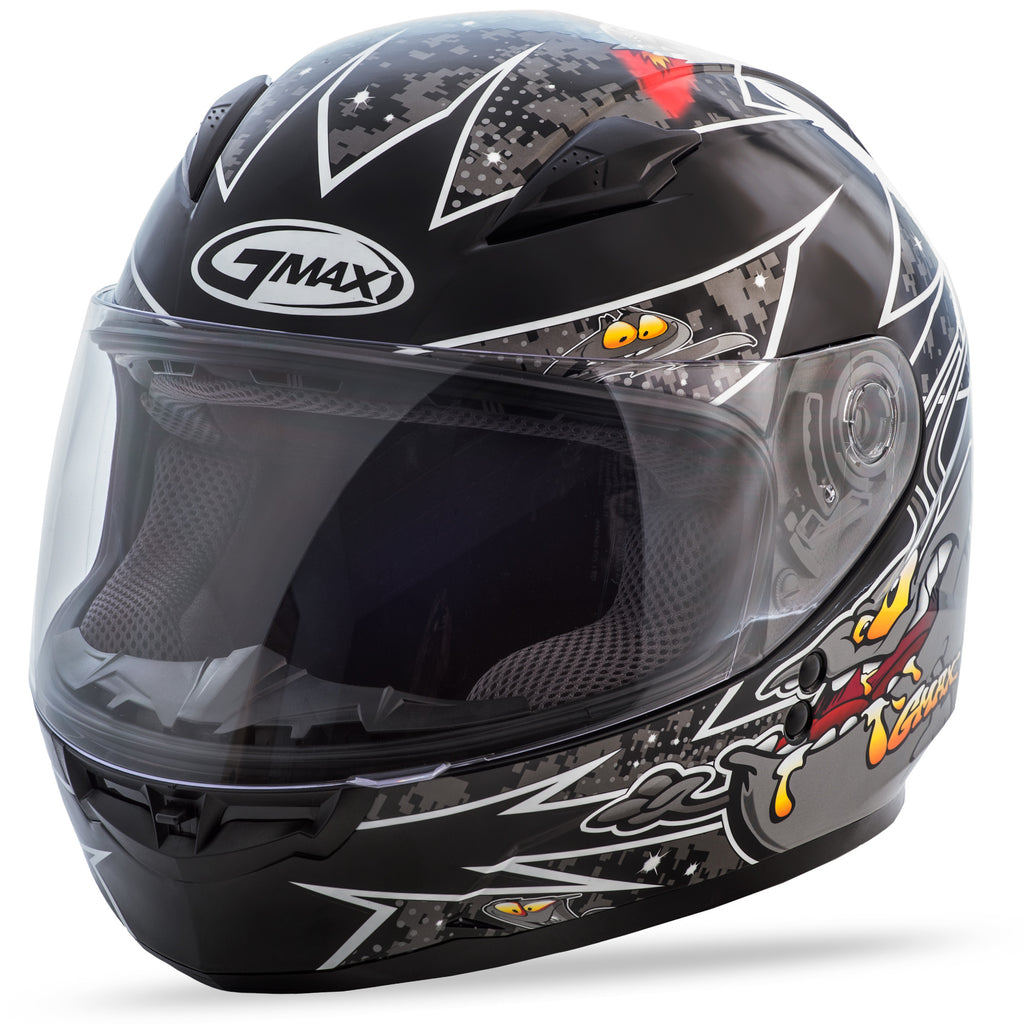YOUTH GM-49Y FULL-FACE ALIEN HELMET BLACK/SILVER YM