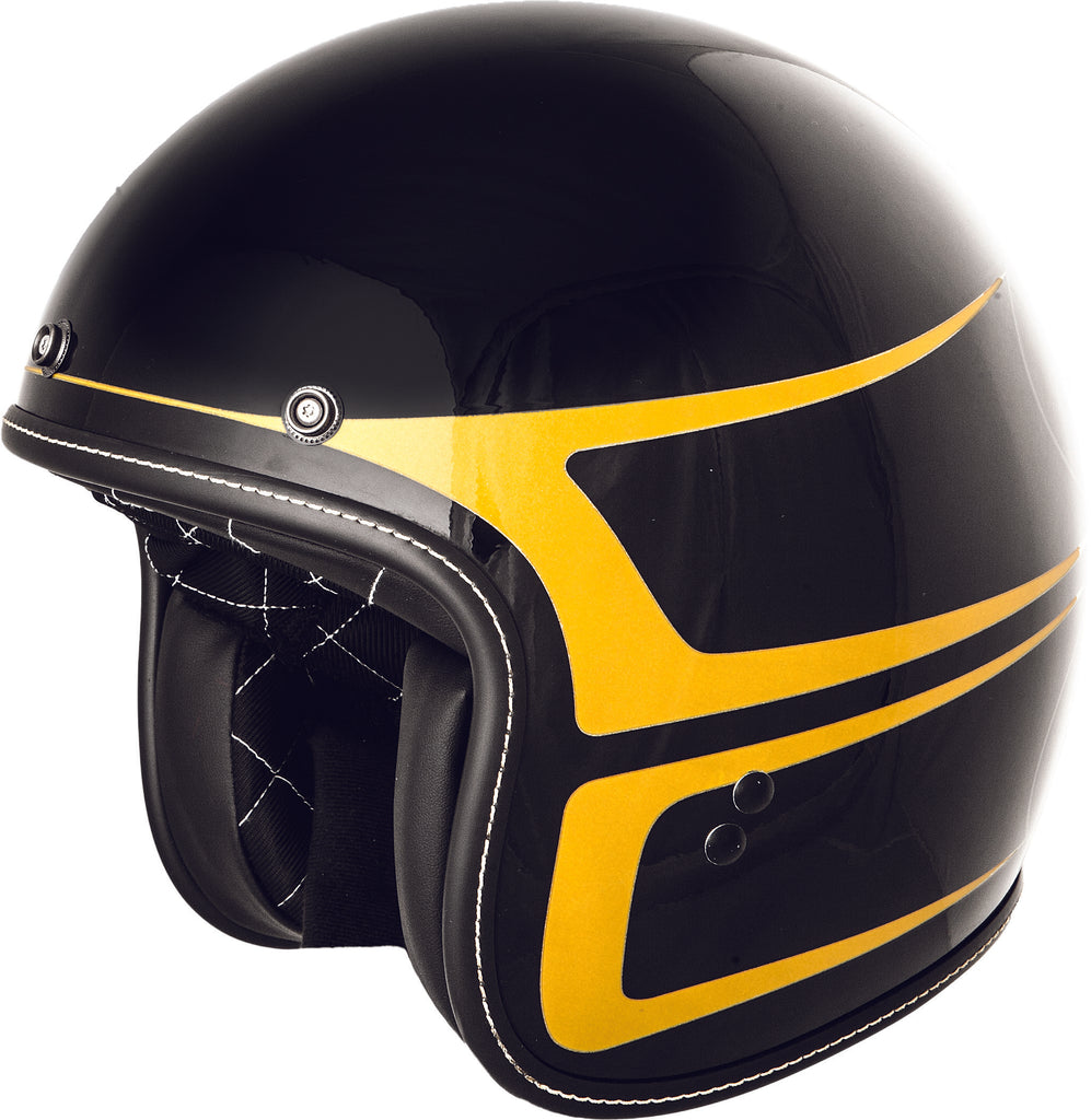 .38 SCALLOP HELMET GLOSS BLACK/YELLOW LG