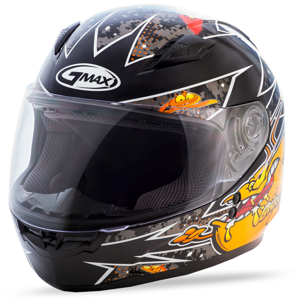 YOUTH GM-49Y FULL-FACE ALIEN HELMET BLACK/ORANGE YL
