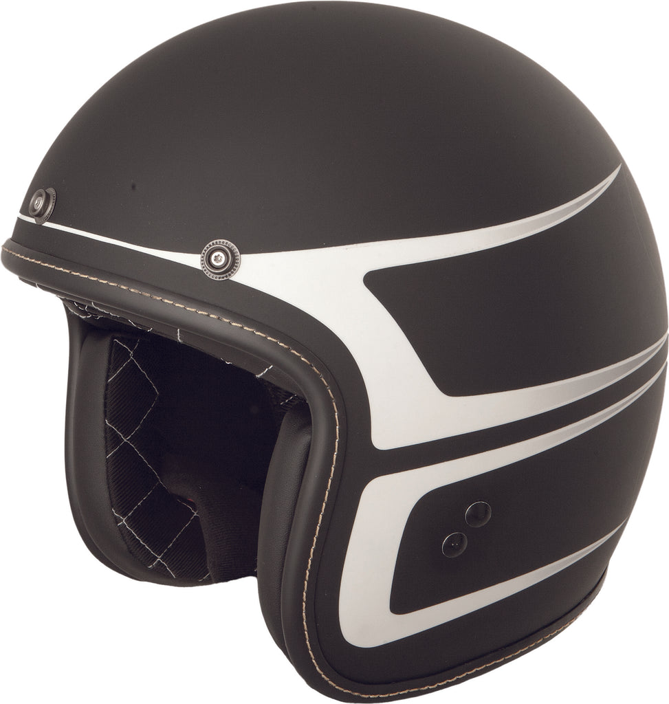 .38 SCALLOP HELMET MATTE BLACK/WHITE 2X