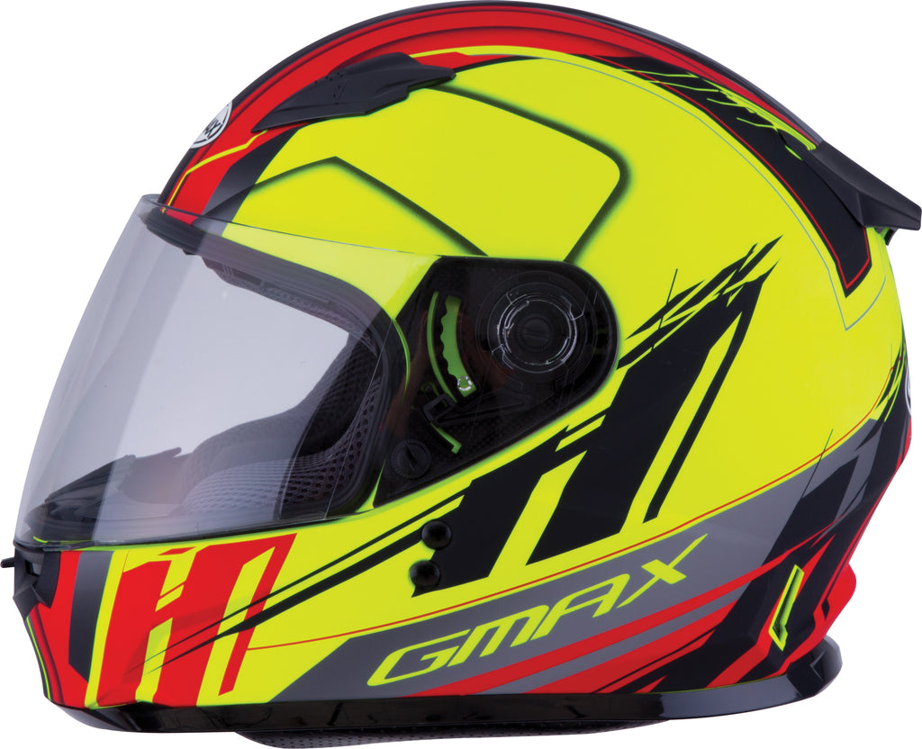 YOUTH GM-49Y FULL-FACE ROGUE HELMET MATTE HI-VIS/RED YM