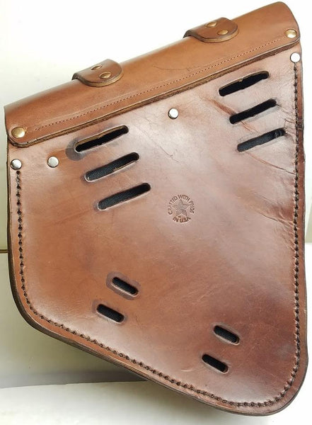 Bobber Bag Leather (Softail Style) Solo Swingarm Bag for Harley Dyna Glide - Brown Leather Bag