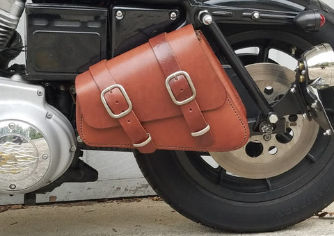 Bobber Bag & Bracket Package for Harley Sportster - Brown Leather Bag (save $20!)