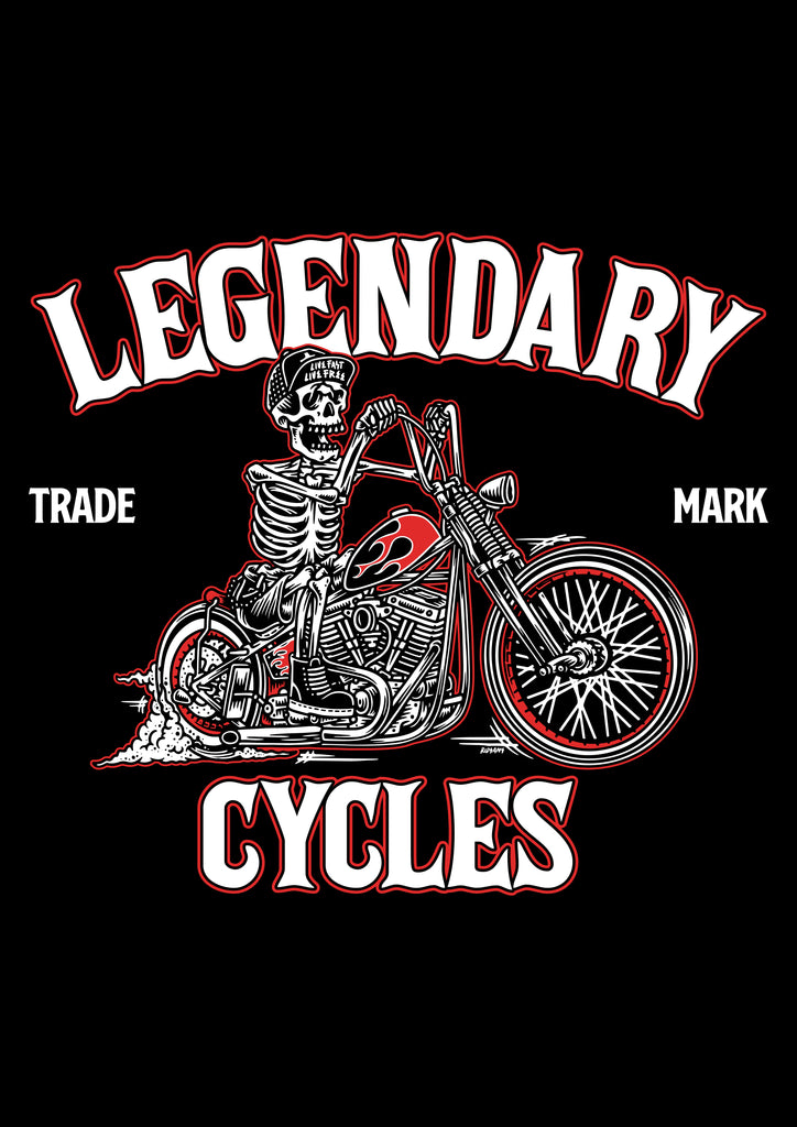 """Legendary Cycles Skully Bobber "" Womens Scoopneck T-Shirt in Black"