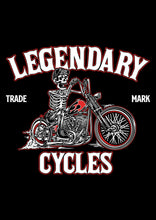 "Load image into Gallery viewer, ""Legendary Cycles Skully Bobber "" Womens Scoopneck T-Shirt in Black"