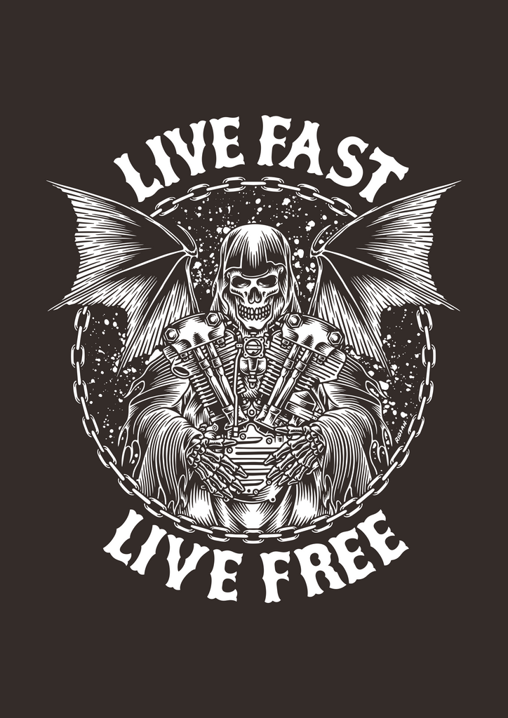 """Live Fast, Live Free"" Womens Scoopneck T-Shirt in Black"