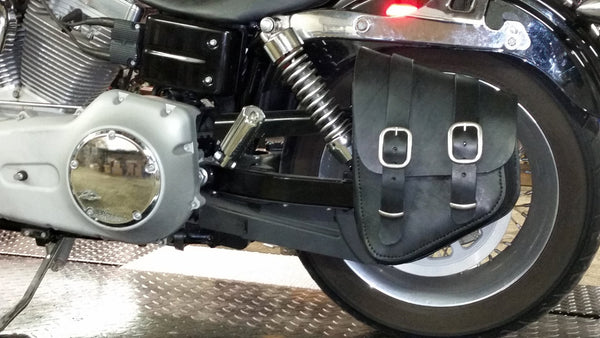 Bobber Bag (Softail Style) & Bracket Package for Harley Dyna Glide - Brown Leather Bag (save $20!)