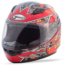 Load image into Gallery viewer, YOUTH GM-49Y FULL-FACE ALIEN HELMET BLACK/RED YL