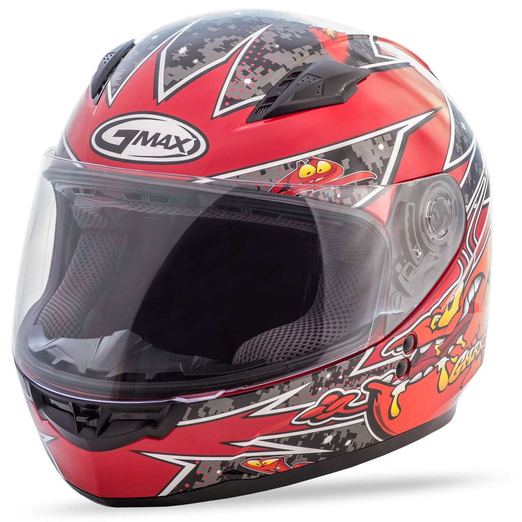 YOUTH GM-49Y FULL-FACE ALIEN HELMET BLACK/RED YS