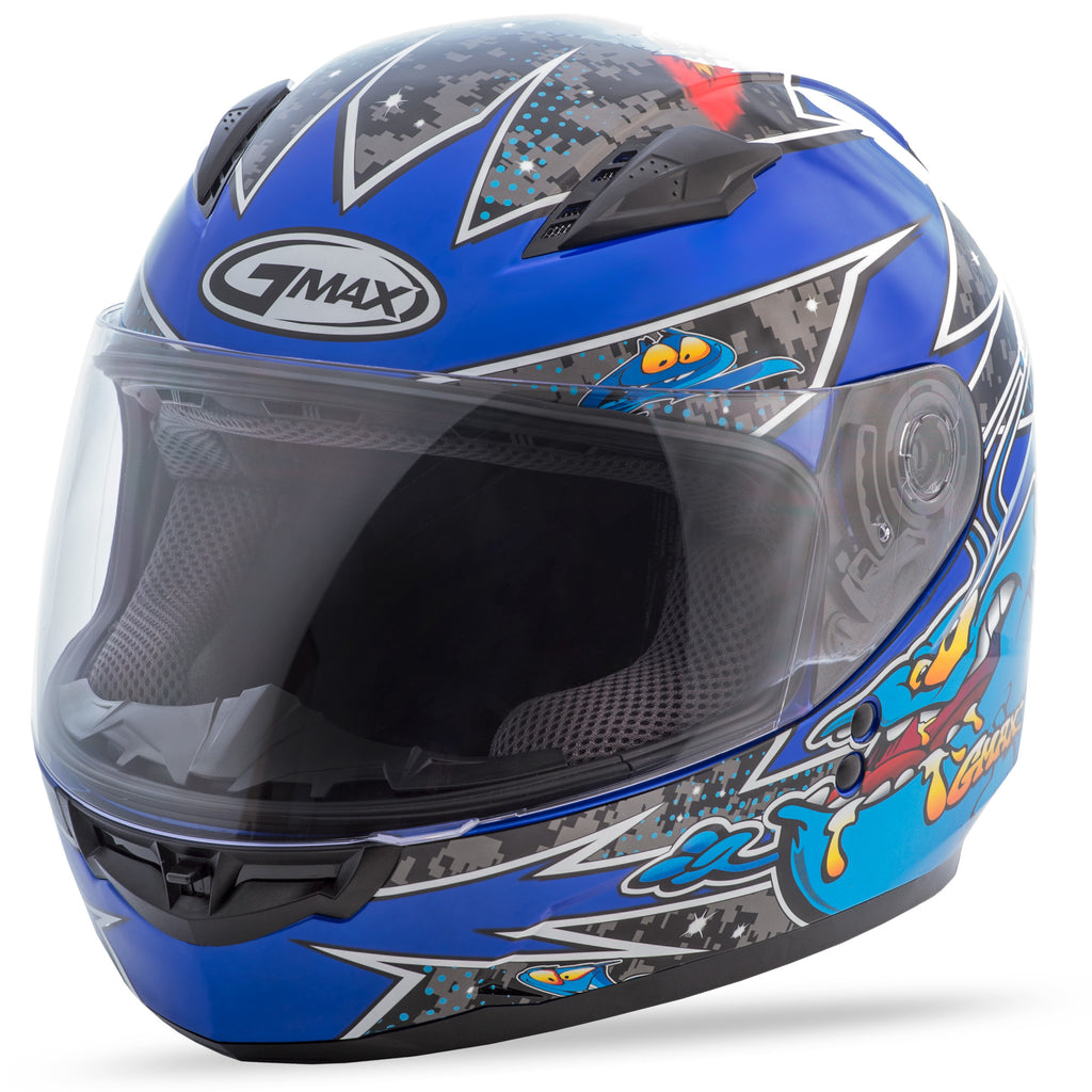 YOUTH GM-49Y FULL-FACE ALIEN HELMET BLACK/BLUE YL