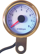 Load image into Gallery viewer, 48MM MINI TACHOMETER 8000 RPM WHITE FACE