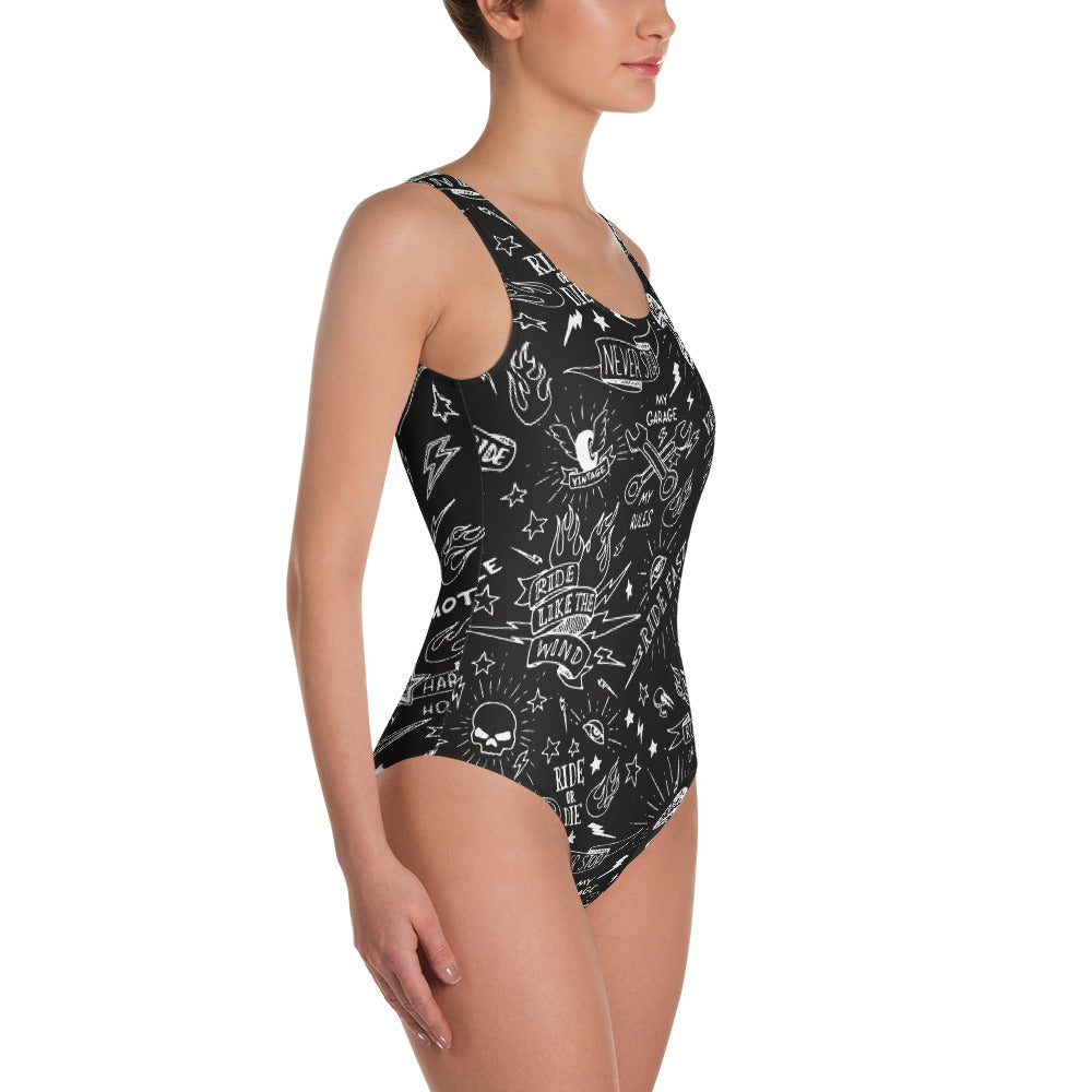 """Born To Ride"" Womens One-Piece Swimsuit"