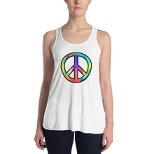"Load image into Gallery viewer, ""Peace"" Womens Flowy Racerback Tank"