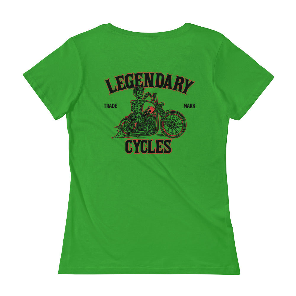 """Legendary Cycles Skully Bobber "" Womens Scoopneck T-Shirt - Variety of Colors"