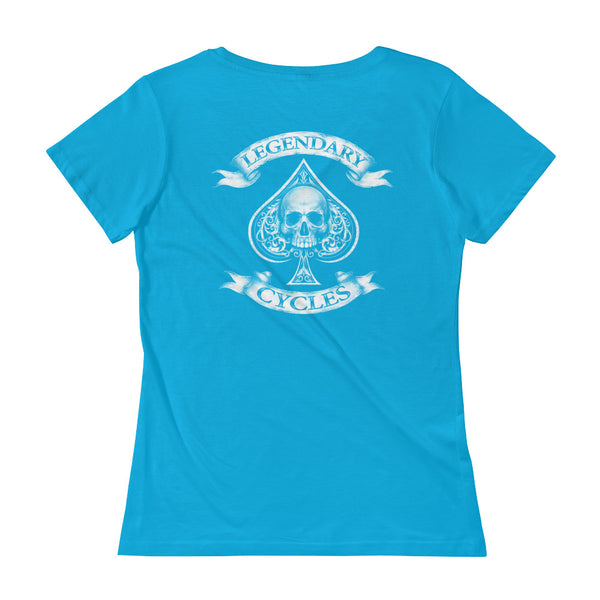 """Born To Ride"" Old School Tattoo Style Womens Scoopneck T-Shirt"