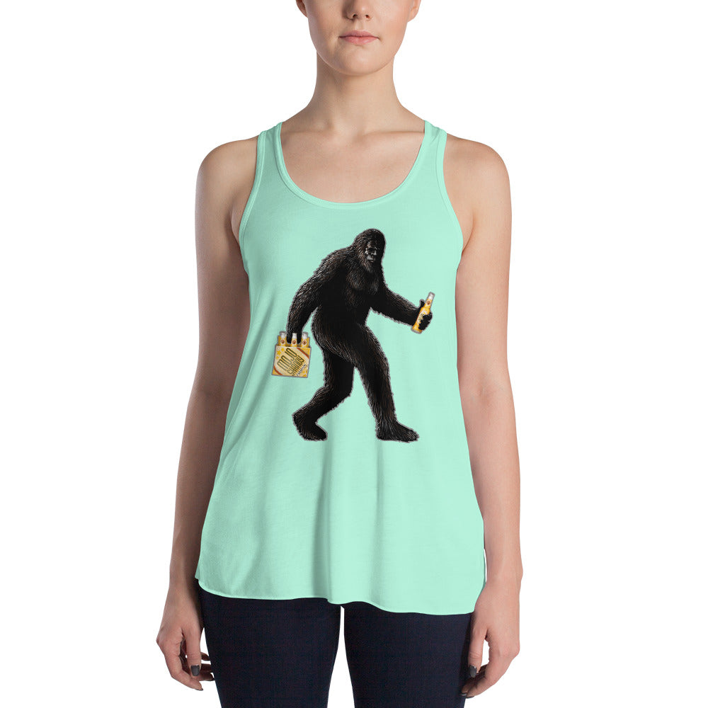 """Partying with Sasquatch"" Womens Flowy Racerback Tank"