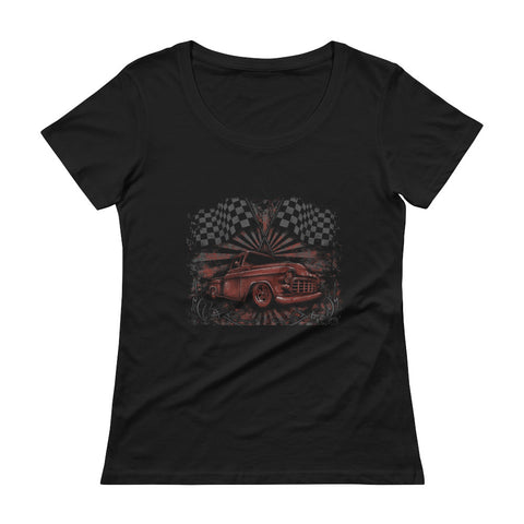 """Tri-Five Chevy Pickup"" Womens Scoopneck T-Shirt"