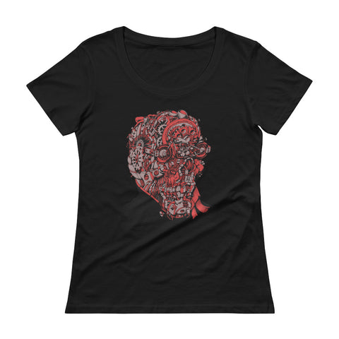 """Steampunk Skull"" Womens Scoopneck T-Shirt"