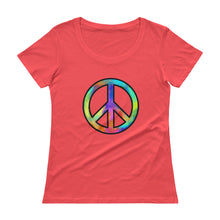 "Load image into Gallery viewer, ""Peace"" Womens Scoopneck T-Shirt"