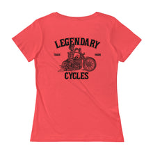 "Load image into Gallery viewer, ""Legendary Cycles Skully Bobber "" Womens Scoopneck T-Shirt - Variety of Colors"