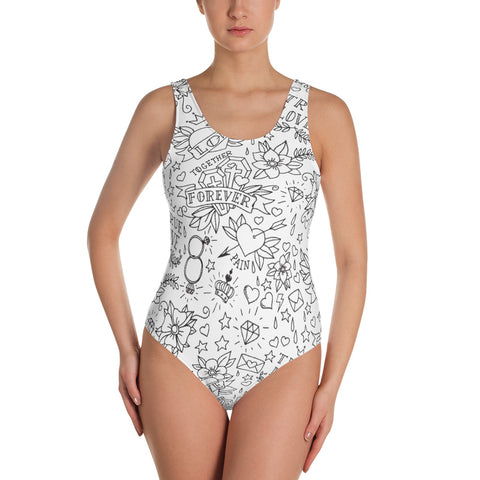 """True Love"" Womens One-Piece Swimsuit"