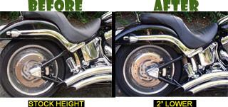 "No Shock Removal - Ultimate Easy Softail Lowering Kit, Includes 1.5"" and 2"" Complete Kit (For All 2000-2017 Softail Models)"