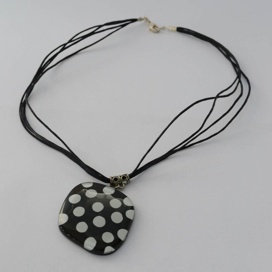 Black & White Polka Dot - Glass Necklace