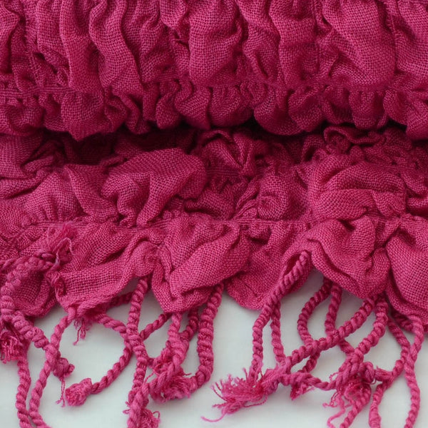 Bright Pink Rouched Scarf