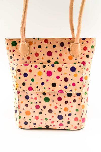 Polka Dot Embossed Leather Handbag