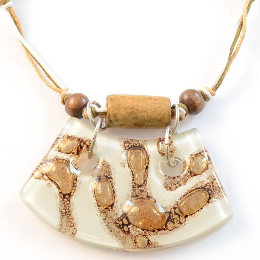 On the Path - White & Brown Curved Glass Necklace