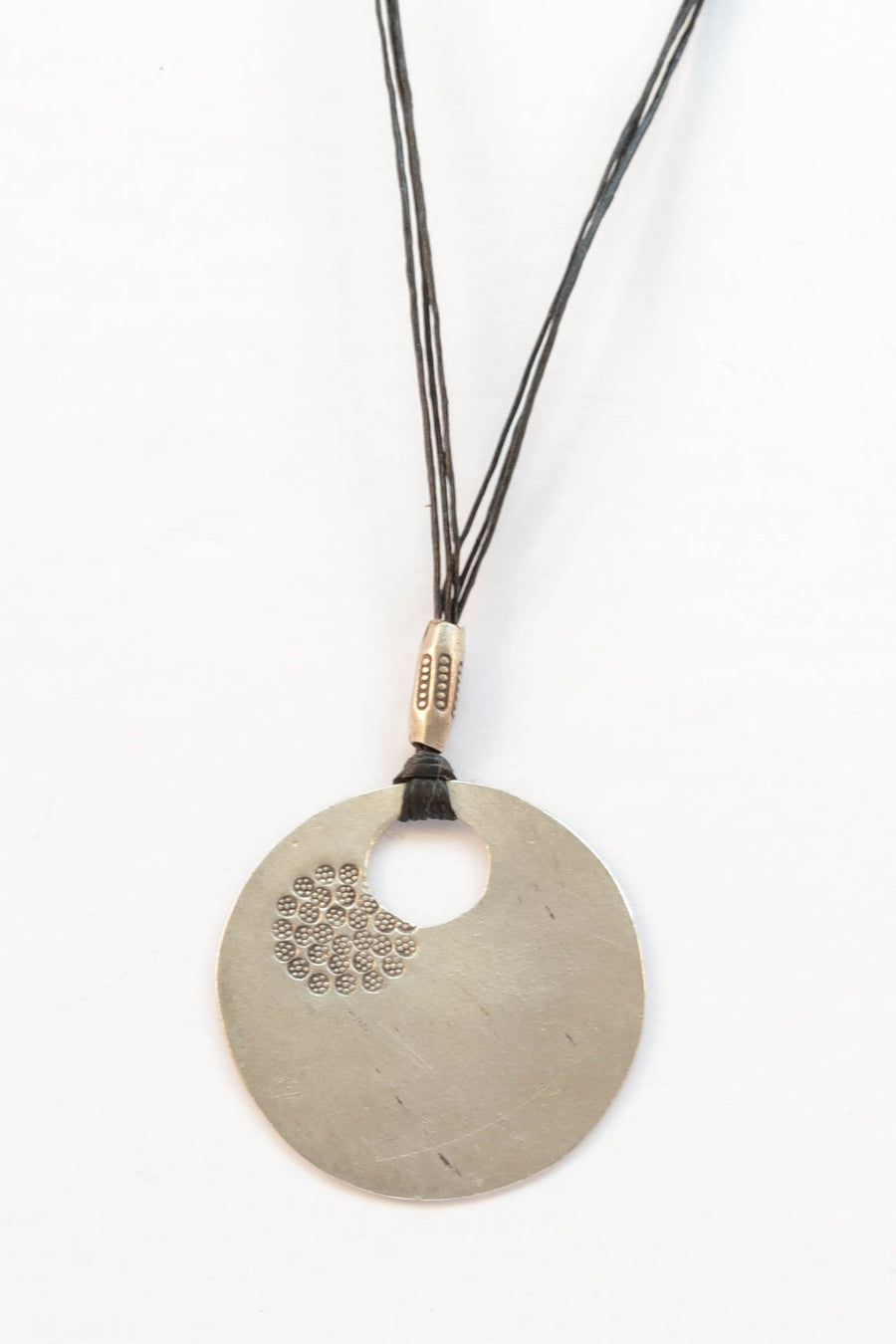 Rustic Floral Stamped Necklace - Sterling Silver