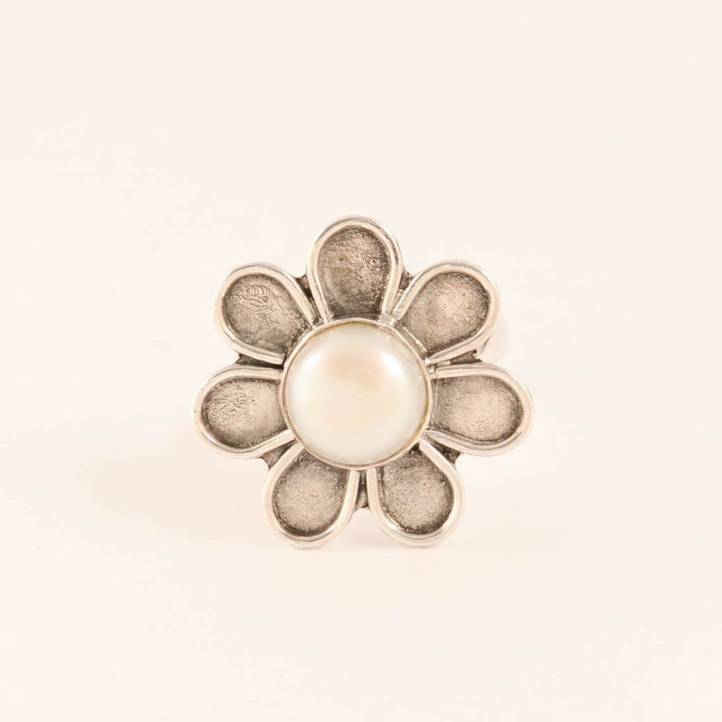 Flower with Pearl Centre - Sterling Silver Ring