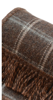 Brown Plaid 100% Alpaca Scarf